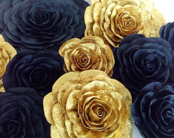 10 Giant large Paper Flowers backdrop wall kate bridal spade baby shower paris wedding Graduation prom gatsby party black gold nursery decor