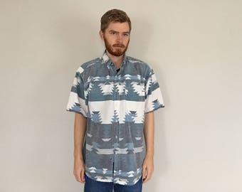 80s Southwestern Ikat Boho Shirt size XL ~ 35556