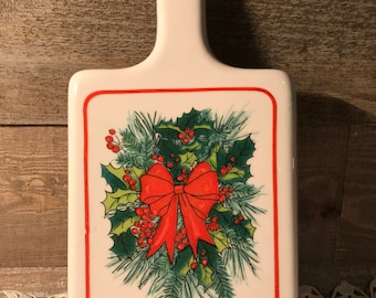 Vintage Christmas Ceramic Wall Hanging with Holly Decor and Red Bow