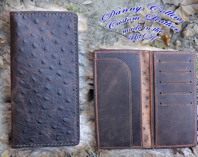 Embossed Ostrich Roper Wallet, Checkbook Wallet