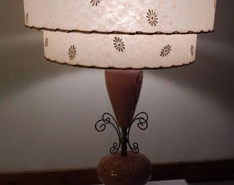 Mid Century Modern Hollywood Regency Atomic Retro Pink Lamp with Two Tier Shade