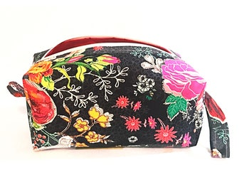 Wild Bloom Cosmetic Bag, Makeup Bag, Travel Bag, Box Pouch