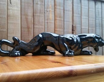 Vintage Black Panther, Mid Century Decor, Mid Century Accents, Mod Home, Ceramic Black Panthers, Sleek Vintage Accent.