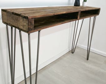 kits upcycled pallet wood entryway table sideboard bar table with vintage hairpin legs