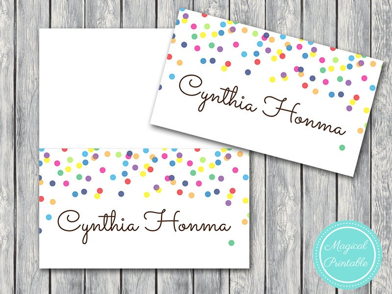 50 download file baby sprinkle name cards name tags printable tent