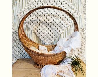 Large Flower Basket with Handle / Easter Basket