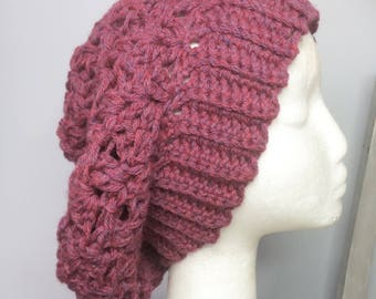 Cari Hat in Burgundy . CROCHET slouch hat.