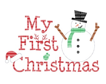 My First Christmas SVG File for Silhouette Cameo and Cricut Design Space Iron on Decal Printable Heat Transfer Scrapbooking Template Stencil