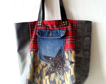 Faux leather, camouflage, denim and Plaid tote bag
