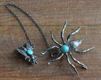 Vintage Sterling Silver and Turquoise Spider and Fly Pins