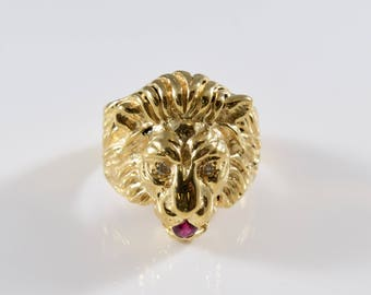 Intricate Vintage 14K Yellow Gold Ruby and Diamond Lion Head Ring Size 6
