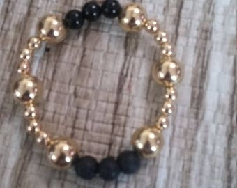 Lava Bead essential oil Bracelet with 3 8mm Black Beads and acrylic beads