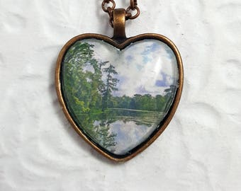 Kraemer Bayou Necklace With Heart-shaped Glass Cabochon Heart Necklace Photo Necklace Souvenir Necklace Landscape Photography