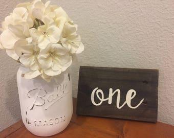 Wedding table numbers, wood table numbers