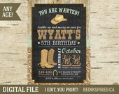 Cowboy Birthday, Cowboy Party, Cowboy Invitation Invite, Horse Invitation, Western Invitation, Cowboy Hat Boots, Country, DIGITAL FILE
