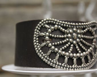 Leather Cuff with Reproduction Silver Shoe Clip