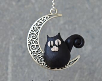 Cat moon pendant