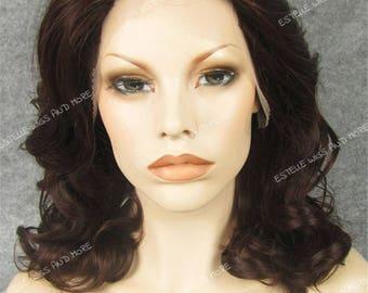 Dark Auburn col 33 Medium Lenght Wavy/ Curly Swiss LaceFront Premium Fibre Wig-Ivy