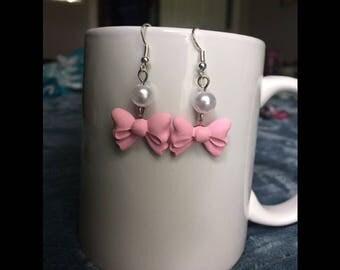 Pastel Kawaii Bow Earrings, Pink/Purple Bow Dangle Earrings