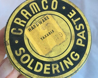Rare Mid century CRAMCO Soldering Paste. Vintage advertising. Cramco Soldering Paste metal container with contents.
