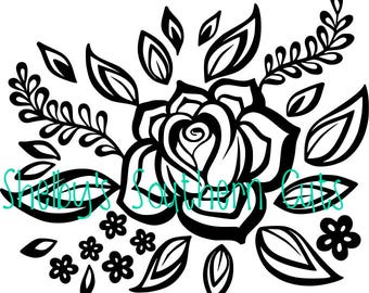 Rose with petal and vines - SVG