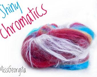 Spinning fiber - Fiber batt - Merinos, firestar, glitter/nylon - 50 gr - Shiny chromatics