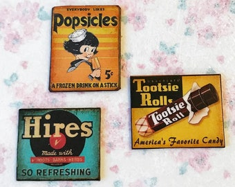 """Miniature Dollhouse """"antique tin"""" 1:12 candy signs VINTAGE advertising Ads"""