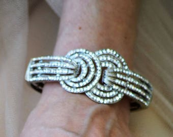 Bridal cuff bracelet, Art Deco cuff bracelet, Swarovski crystal cuff bracelet. AURORA.