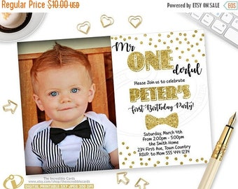50% OFF SALE Mr Onederful Invitation, ONEderful Birthday Party Invitation, Mr. Onederful, Gold Glitter, Photo Printable Birthday Invitation