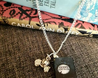 Classic book Grimms Fairytales miniature book charm necklace or keyring