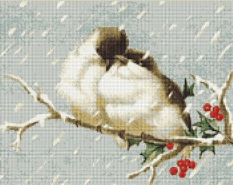 Little Birds in a Snowstorm Counted Cross Stitch Pattern / Chart,  Instant Digital Download   (AP170)
