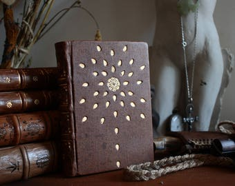 Seventh Small Treasure Journal - A Little Handmade Leather Journal Bound in Goat Leather Tooled with Gold
