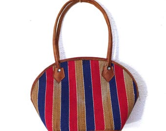 Vintage Striped Straw Purse/70s Straw Handbag