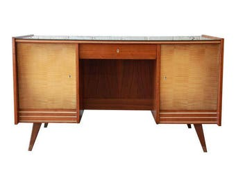 German Mid-Century Modern Walnut and Tiger Maple Executive Desk with Built-In Bookcase