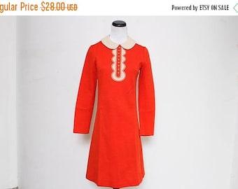 25% OFF VTG 60s Mod Lolita Peter Pan Red Mini Dress S