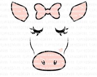 cow face svg, show cow svg, pig dxf, farm svg, farming svg, little girl farm svg, baby farm svg, farm shirt svg, cow svg, cute cow svg