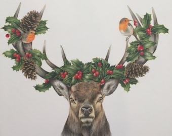 """Christmas Print of reindeer """"Dasher"""""""