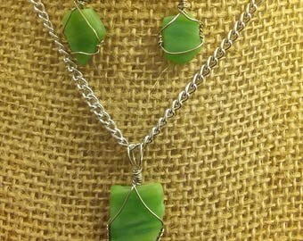 green stained glass/ beach glass earrings and necklace set