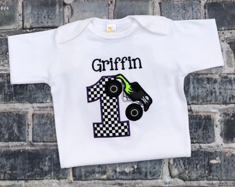 Grave Digger Inspired Birthday Shirt with Big Birthday Number