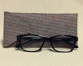 Welsh tweed glasses/spectacles case in pale pink & grey
