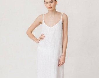 Milky white linen summer dress, Minimal linen dress, Linen women clothes, Linen dress, Simple dress, Linen clothing