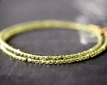 Dainty Peridot Necklace Green Stone Necklace Green Necklace Bead Gemstone Gold Filled Petite Choker August Birthstone Mother of Bride Gift