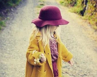 Little Girls Felt Wool Hat - children's accessories - little girls hats - girls accessories
