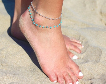 Set of 2 Sterling silver Rosary anklet - turquoise and pyrite ankle bracelet - beach anklet summer - turquoise stone anklet - boho anklet