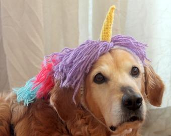 Unicorn Dog Costume, Dog Unicorn Unicorn Mane, Unicorn Hat for Large Breed Dogs, Dog Costumes, Halloween Costume for Pets, Funny Dog Costume