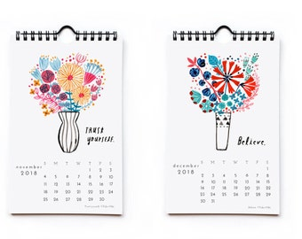 2018 wall calendar, watercolor flower paintings, holiday gift idea, positive inspiration quotes, nature inspired, gouache painting, flowers