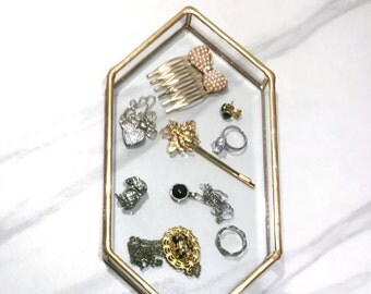 Ring Dish, Clear Glass, Ring Tray, Jewelry Dish, Jewelry Storage, Vanity Tray, Vanity Dish, Catch All, Jewelry Tray, Jewelry Storage, gold