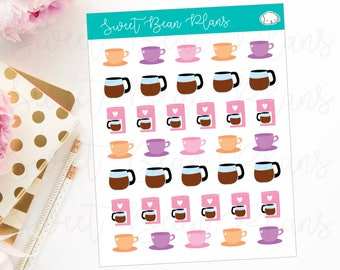Coffee Pot and Coffee Cup Planner Stickers