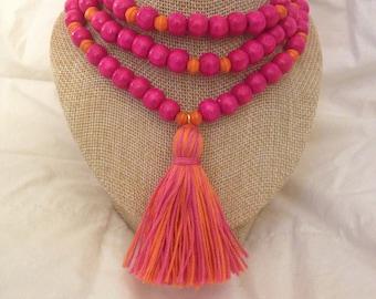 PINK ORANGE Tassel Necklace Strung on Pink Wooden Beads