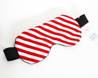 Sleeping mask, sleep - pattern stripes red (hide-eyes, rest, sleep, NAP)